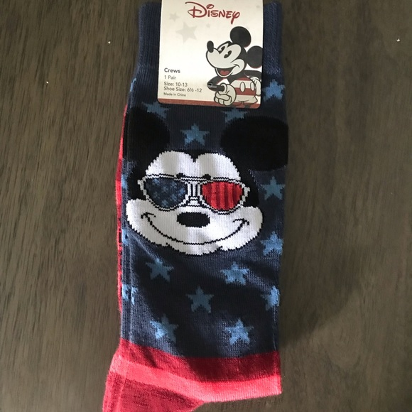 Disney Parks 2 Pairs of Socks Mickey Mouse Unisex 9-12 Size